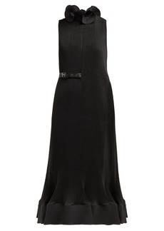 Tibi Belted plissé midi dress
