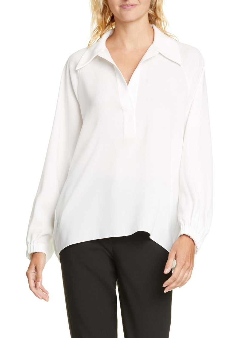 Tibi Bibelot Polo Collar Easy Crepe Top