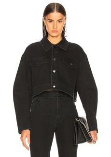 Tibi Black Washed Denim Cropped Jean Jacket