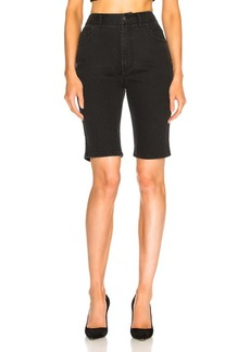 Tibi Black Washed Denim Trish Shorts
