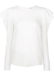 Tibi blouse with gathered puff shoulders - White
