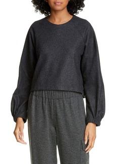 Tibi Blouson Sleeve Crop Top