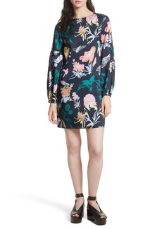 Tibi Blouson Sleeve Floral Shift Dress