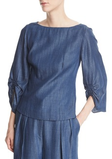 Tibi Boat-Neck Slim-Fit Chambray Top
