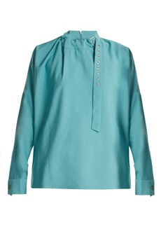 Tibi Buckled-neck twill blouse