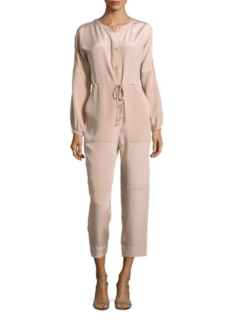 Tibi Button-Down Silk Cropped Jumpsuit