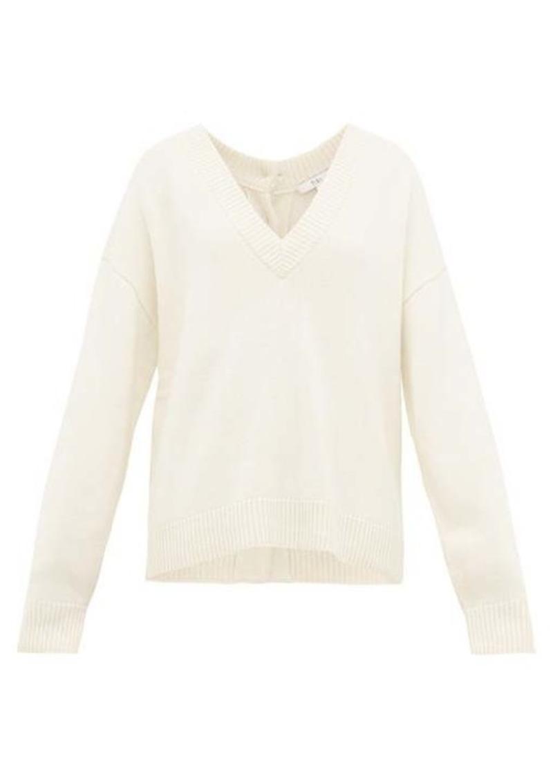 Tibi Buttoned V-neck cashmere sweater