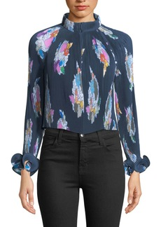 Tibi Camellia Pleated Floral-Print Top
