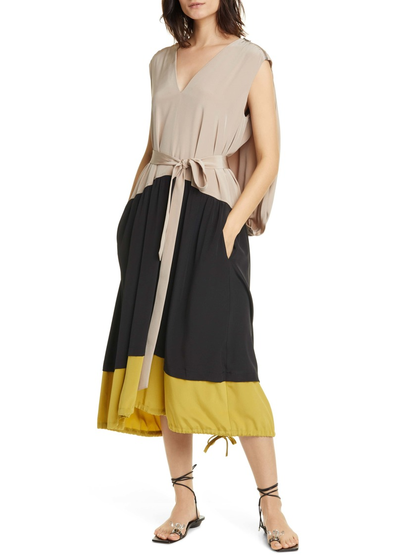 Tibi Cape Back Silk Midi Dress