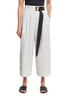 Tibi Cecil Striped Culottes with D-Ring Belt