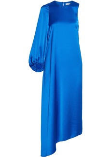 Celestia asymmetric satin midi dress