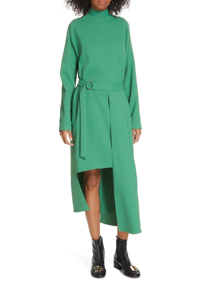 Tibi Chalky Drape Cutout Long Sleeve Dress