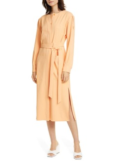 Tibi Chalky Drape Long Sleeve Midi Shirtdress