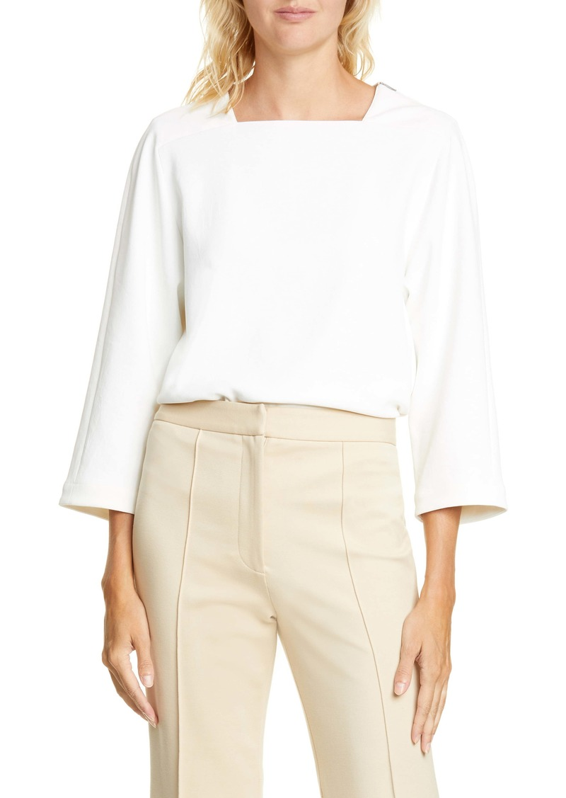 Tibi Chalky Drape Square Neck Top