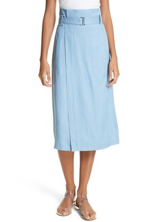 Tibi Chambray Faux Wrap Skirt