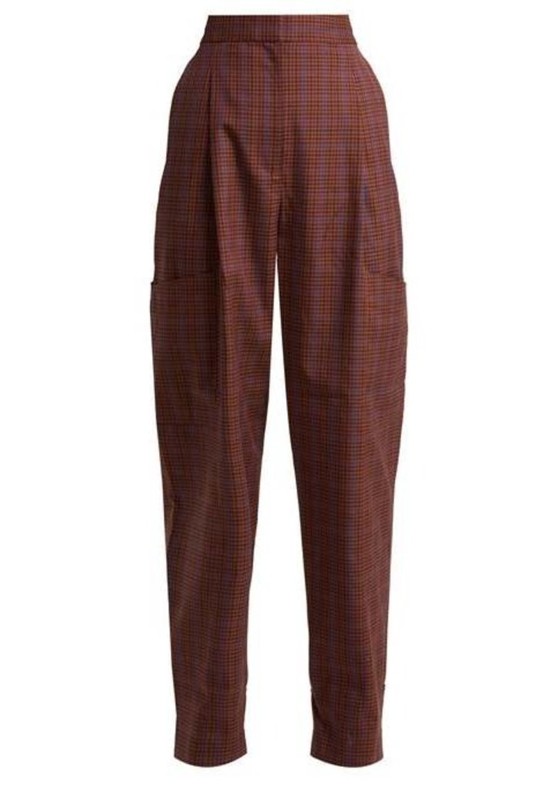 Tibi Checked twill tapered trousers
