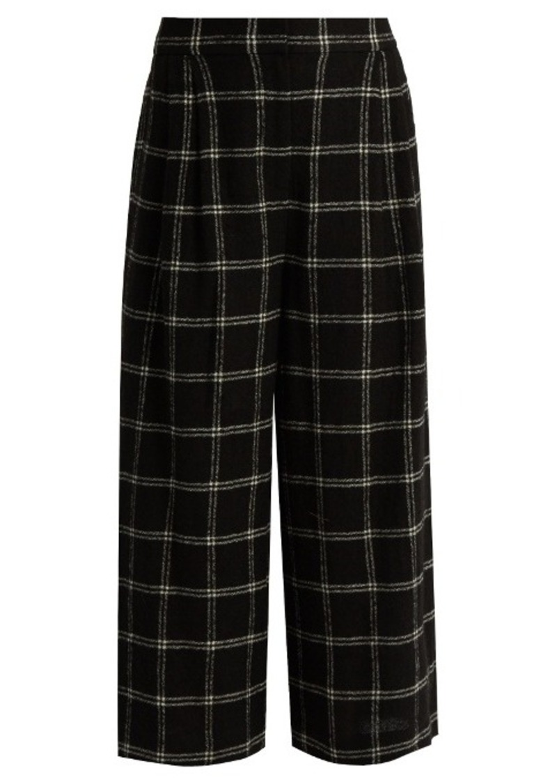 Tibi Checked wide-leg wool-blend culottes