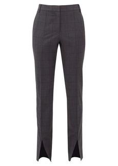 Tibi Checked wool-blend slim-leg trousers