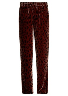 Tibi Cheetah-print wide-leg velvet track pants