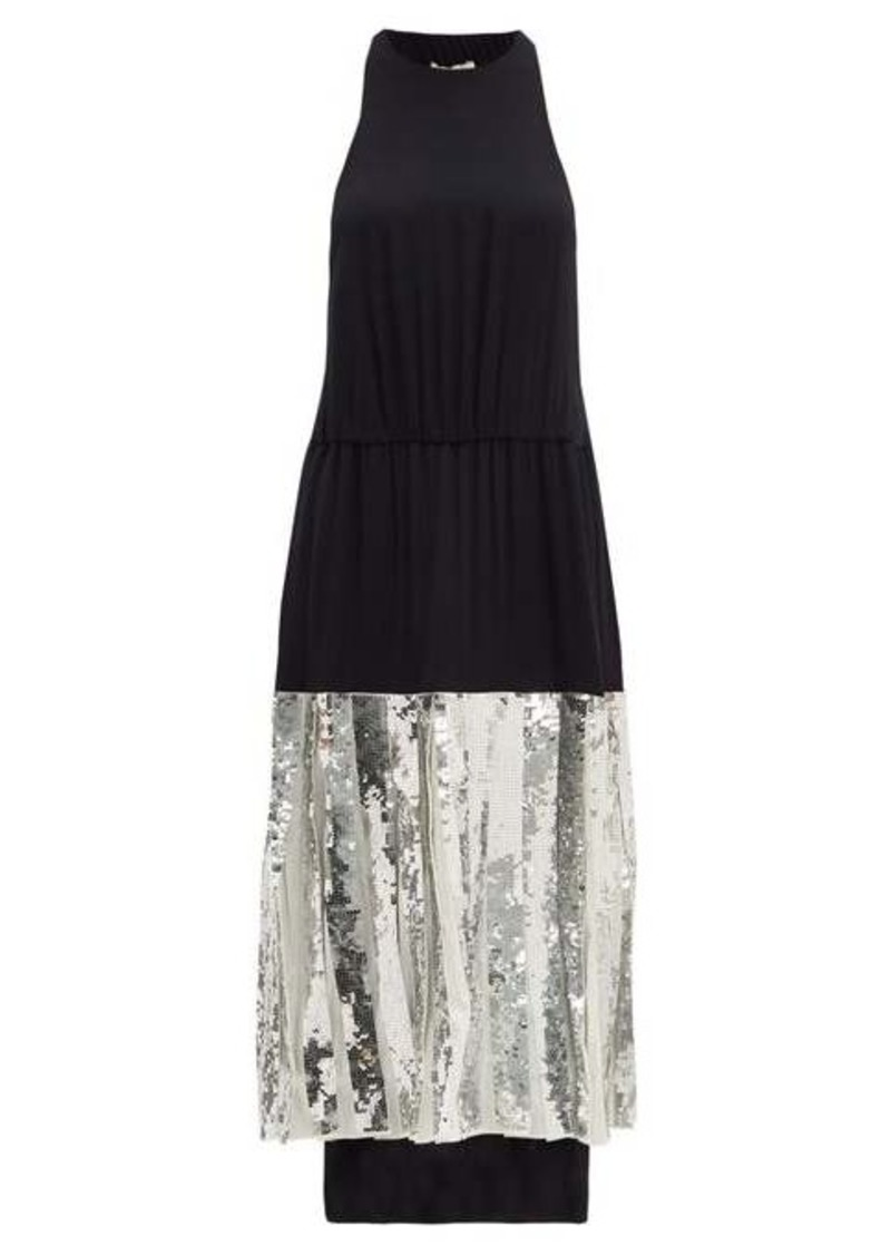 Tibi Claude sequinned silk midi dress