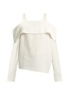Tibi Cut-out shoulder asymmetric crepe top