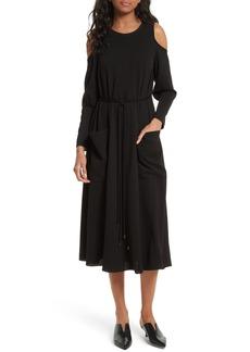 Tibi Cold Shoulder Midi Dress