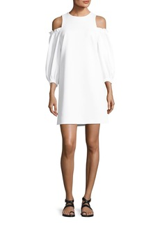 Tibi Cold-Shoulder Stretch-Crepe A-Line Day Dress