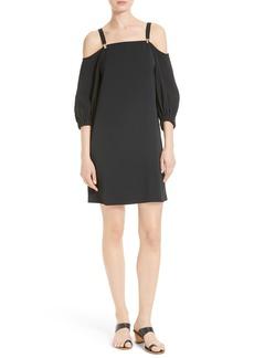 Tibi Cold Shoulder Suspender Shift Dress