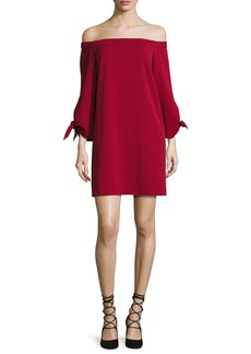 Tibi Cold-Shoulder Tie-Sleeve Crepe Mini Dress