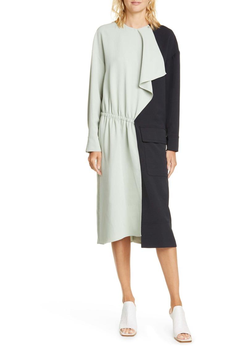 Tibi Colorblock Asymmetrical Long Sleeve Dress