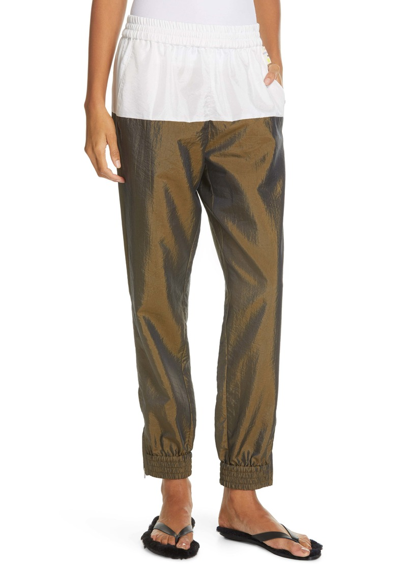 Tibi Colorblock Crinkled Nylon Jogger Pants