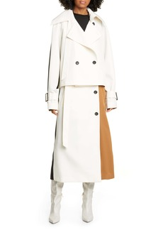 Tibi Colorblock Techy Twill Convertible Trench Coat