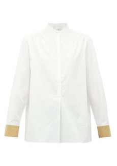 Tibi Contrast-cuff cotton shirt