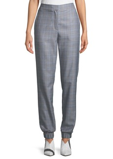 Tibi Cooper Check Menswear Pull-On Jogger Pants