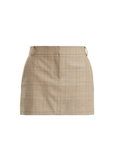 Tibi Cooper checked wool-blend mini skirt