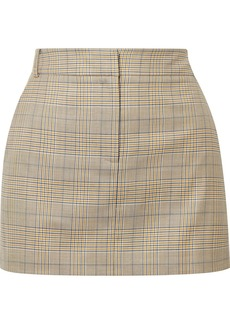 Tibi Cooper Prince of Wales checked wool and silk-blend mini skirt