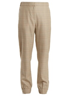 Tibi Cooper wool-blend checked tapered-leg trousers