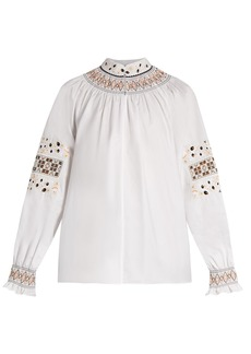 Tibi Cora embroidered cotton top