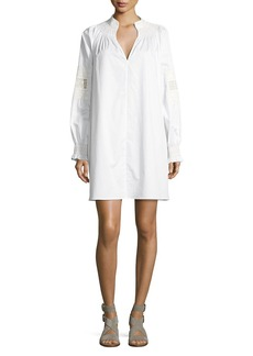 Tibi Cora Embroidered Short Cotton Dress