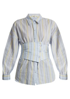 Tibi Corset-detail striped cotton-blend shirt