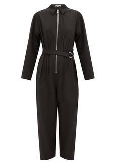 Tibi Corset-ribbed belted crepe boiler suit
