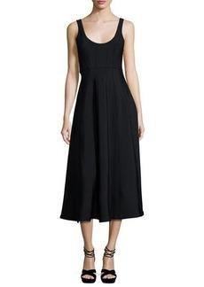 Tibi Corset Structured Crepe A-Line Midi Dress