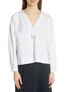 Tibi Cotton Poplin Pleat Back Blouse