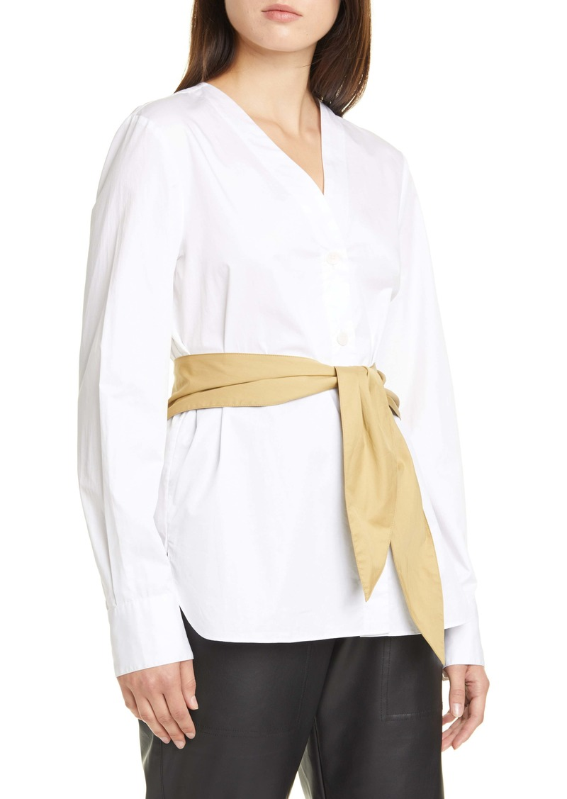 Tibi Cotton Poplin Shirt with Tie Belt