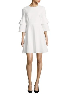 Tibi Crepe Bell Sleeve Dress