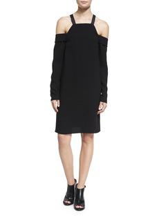 Tibi Crepe Cold-Shoulder Shift Dress