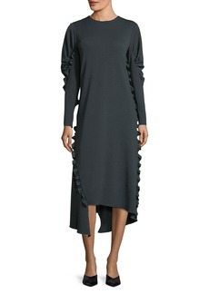 Tibi Crepe Knit Midi Dress w/ Ruffled Trim