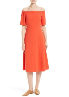 Tibi Crepe Off the Shoulder Midi Dress