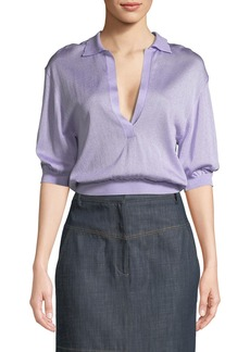 Tibi Crispy Viscose Elbow-Sleeve Cropped Polo Top