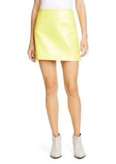Tibi Croc Embossed Faux Patent Leather Miniskirt